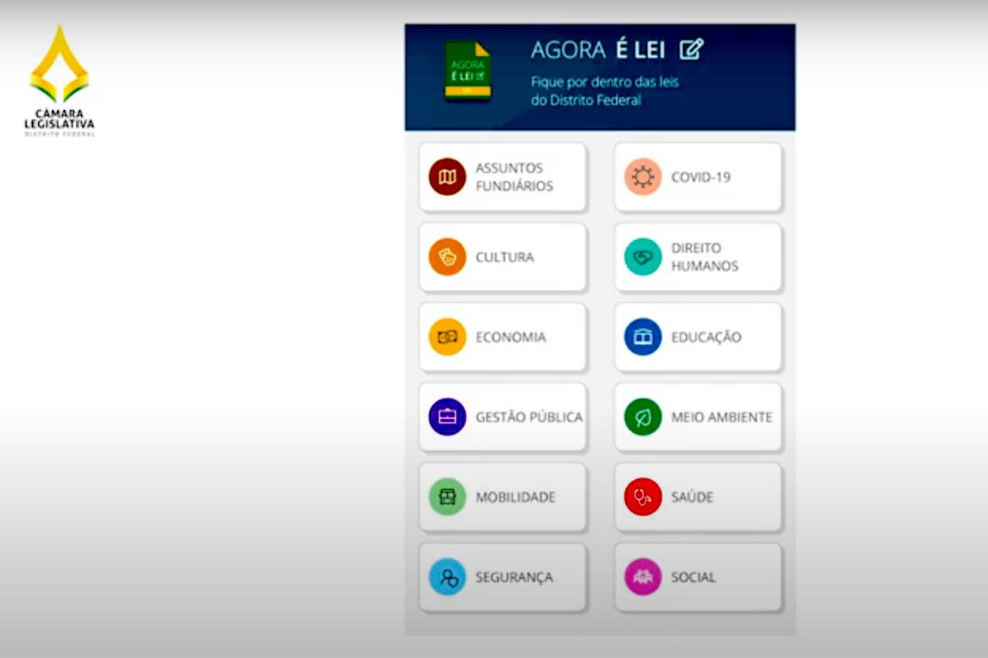 O aplicativo gratuito divide as leis do DF em 27 temas, como Saúde, Gestão Pública, Mobilidade, Educação e até mesmo Covid-19